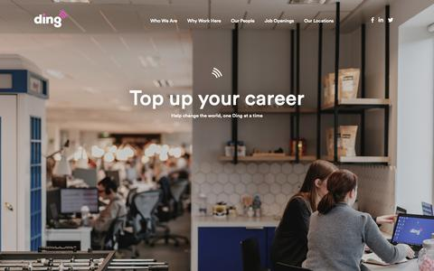 Screenshot of Jobs Page ding.com - Careers Archive - Ding Blog - captured Dec. 20, 2018