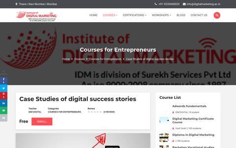 Screenshot of Case Studies Page digitalmarketing.ac.in - Case Studies of digital success stories   Institute Of Digital Marketing - captured Nov. 28, 2019