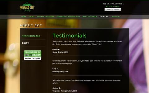 Screenshot of Testimonials Page emeraldcitytrolley.com - Testimonials - Emerald City Trolley - captured Sept. 29, 2014