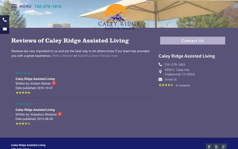 Screenshot of Testimonials Page milestoneretirement.com - Reviews of Caley Ridge Assisted Living in Englewood, CO - captured Jan. 25, 2017