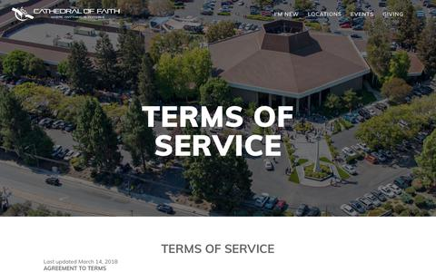 Screenshot of Terms Page cathedraloffaith.org - Terms of Service | Cathedral Of Faith - captured July 16, 2018