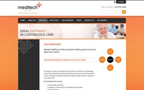 Screenshot of Services Page meditechstaffing.com.au - Nursing Agency Sydney - captured Aug. 10, 2016