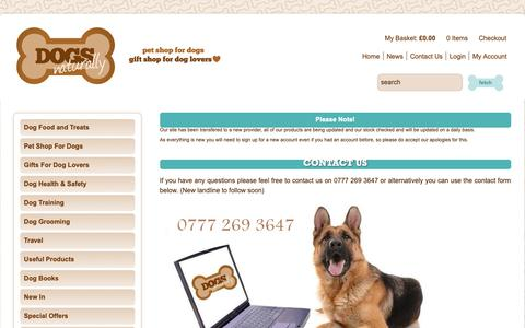 Screenshot of Contact Page dogsnaturally.co.uk - Dogs Naturally - Natural Pet Shop for Dogs, Gift Shop for Dog Lovers - captured Oct. 9, 2018