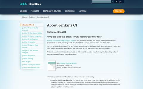 Screenshot of About Page cloudbees.com - About Jenkins CI | CloudBees - captured Oct. 28, 2014