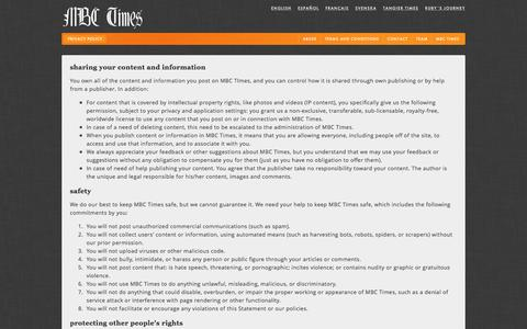 Screenshot of Privacy Page mbctimes.com - Privacy policy Ń MBC Times - captured Jan. 13, 2016