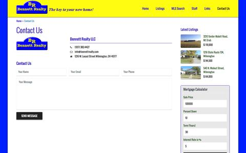 Screenshot of Contact Page bennettrealty.com - Contact Us   Bennett Realty - captured Feb. 6, 2016