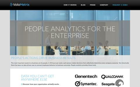Screenshot of Home Page volometrix.com - People Analytics | VoloMetrix - captured Jan. 15, 2015