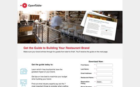 Screenshot of Landing Page opentable.com - Get the Guide to Building Your Restaurant Brand - captured Oct. 29, 2016