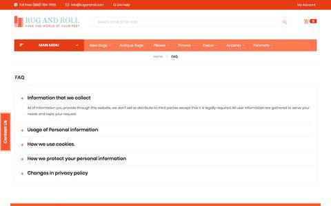 Screenshot of FAQ Page rugandroll.com - FAQ - captured Nov. 11, 2017