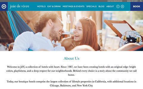 Screenshot of About Page jdvhotels.com - Boutique Hotels | Joie de Vivre – About Us - captured Jan. 3, 2020