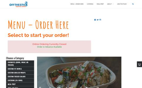 Screenshot of Menu Page offthestick.com - Menu - Order Here | Off The Stick Fresh Grill - captured Oct. 20, 2018