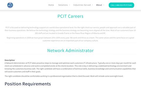 Screenshot of Jobs Page pcit.com - Careers | PCIT - captured May 12, 2017