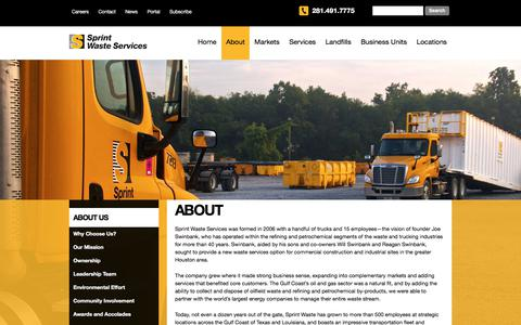 Screenshot of About Page sprintwaste.com - About | Sprint Waste - The Leader in Solid Waste Management - captured Oct. 24, 2017