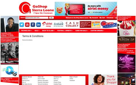 Screenshot of Terms Page goshopsl.com - Terms & Conditions - captured Oct. 2, 2014
