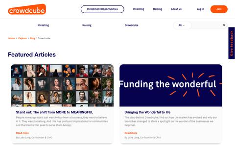 Screenshot of Blog crowdcube.com - Crowdcube news | Crowdcube - captured Aug. 5, 2019