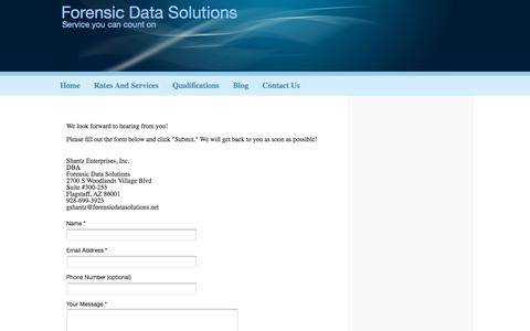 Screenshot of Contact Page forensicdatasolutions.com - Forensic Data Solutions - Contact Us - captured Aug. 19, 2018