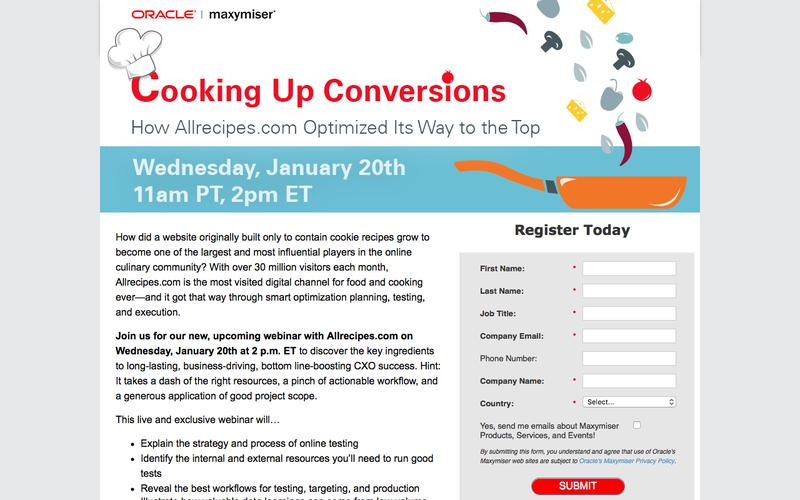 Oracle Maxymiser Webinar: Cooking Up Conversions - How Allrecipes.com Optimized Its Way to the Top - Wednesday,  January 20th at 11 am PT / 2 pm ET