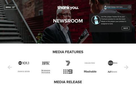 Screenshot of Press Page thankyou.co - Thankyou :: Newsroom - captured Sept. 22, 2016