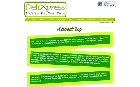 Screenshot of About Page delixpress.org.uk - About Delixpress - Sandiwch Delivery Service in Glasgow & Motherwell - captured Oct. 5, 2014