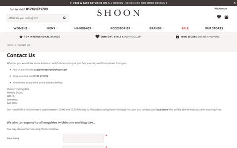 Screenshot of Contact Page shoon.com - How To Contact Shoon By Email, Phone and Contact Form | Shoon Ltd - captured Sept. 7, 2016