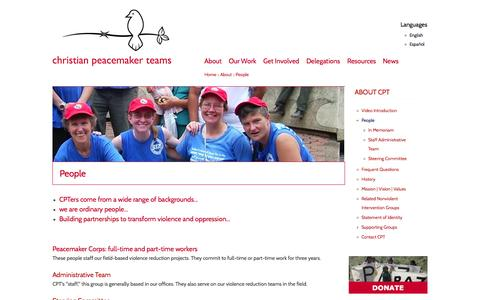 Screenshot of Team Page cpt.org - People | Christian Peacemaker Teams - captured Oct. 2, 2014