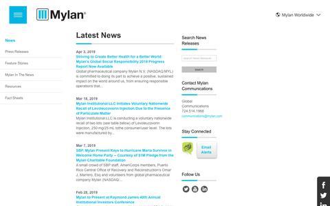 Screenshot of Press Page mylan.com - News   Mylan - captured April 5, 2019