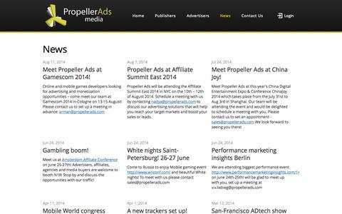 Screenshot of Press Page propellerads.com - PropellerAds News and Events. - captured Sept. 18, 2014
