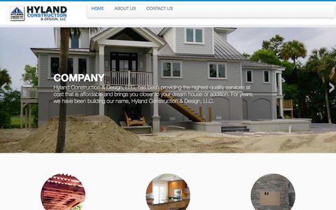 Screenshot of Home Page hylandconst.com - Hyland Construction & Design - captured Feb. 2, 2016