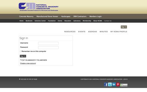 Screenshot of Login Page ncma.org - Sign In - captured Feb. 17, 2016