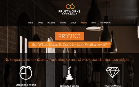 Screenshot of Pricing Page fruitworks.co - Pricing | Fruitworks Coworking | Shared Office Space | Canterbury Kent - captured Oct. 6, 2014