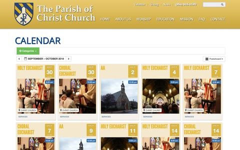 Screenshot of Services Page woodburynj.org - Calendar | Christ Church, Woodbury, NJ - captured Sept. 28, 2018