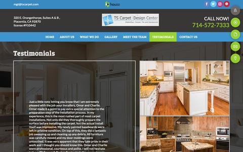 Screenshot of Testimonials Page tscarpet.com - testimonials - Placentia, CA - TS Carpet & Design Center - captured Oct. 19, 2018
