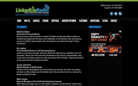 Screenshot of Testimonials Page westminews98.com - Testimonials - LinkedUpRadio - captured May 8, 2016