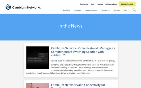 Screenshot of Press Page cambiumnetworks.com - In the News - Cambium Networks - captured Aug. 18, 2019