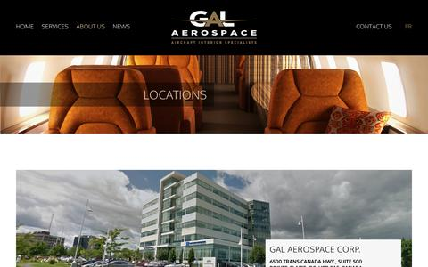 Screenshot of Locations Page galaerospace.com - GAL Aviation - Aircraft interior manufacturing, refurbishment and technical services for aviation industry - captured May 21, 2016