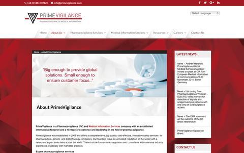 Screenshot of About Page primevigilance.com - About PrimeVigilance - captured Nov. 11, 2016