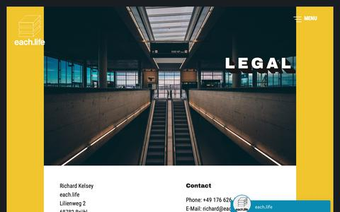 Screenshot of Terms Page each.life - Legal - each.life - captured Dec. 5, 2018