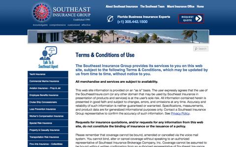Screenshot of Terms Page southeastinsure.com - Southeast Insurance Group - Web Site Terms of Use - captured Oct. 26, 2014