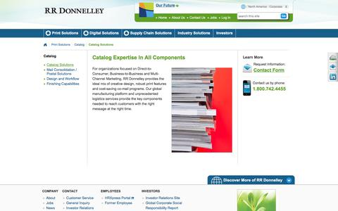 Screenshot of Services Page rrdonnelley.com - Catalog Range of Service | RR Donnelley - captured June 18, 2016