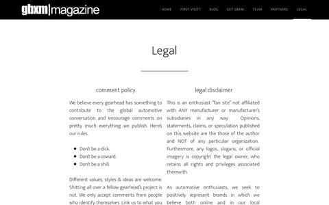 Screenshot of Terms Page gearboxmagazine.com - Legal - captured Jan. 24, 2016