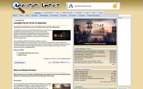 Screenshot of Press Page adventurecorner.de - Adventure Corner - News - captured July 29, 2018