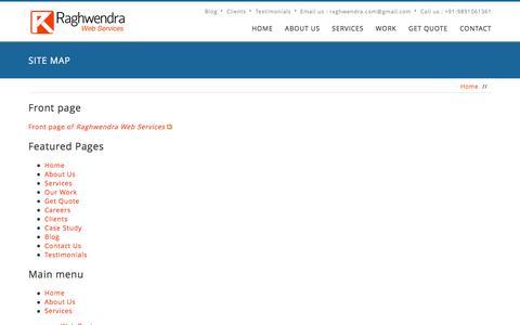 Screenshot of Site Map Page raghwendra.com - Site map   Raghwendra Web Services - captured Nov. 28, 2016