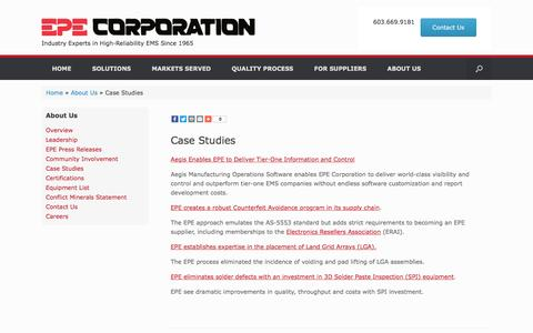 Screenshot of Case Studies Page epecorp.com - Resource Center – EPE Corporation - captured Oct. 10, 2016