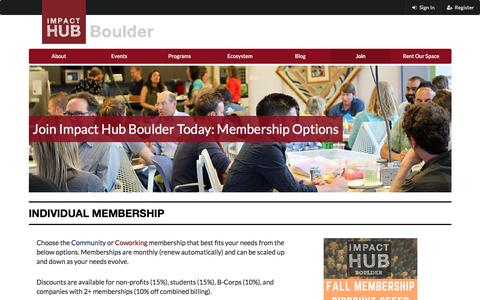 Screenshot of Signup Page impacthubboulder.com - Impact Hub Boulder - captured Nov. 26, 2016