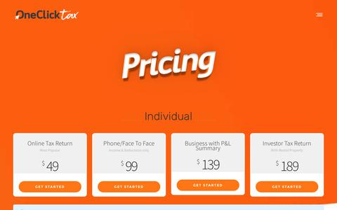 Screenshot of Pricing Page oneclicktax.com.au - Pricing - OneClickTax - The simplest way to do your Tax Return Online - captured Sept. 20, 2018