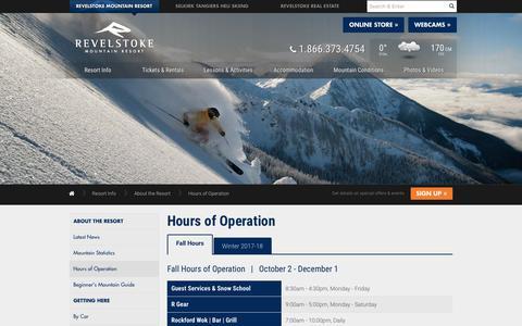 Screenshot of Hours Page revelstokemountainresort.com - Hours of Operation    Revelstoke Mountain Resort British Columbia, Canada - captured Nov. 10, 2017