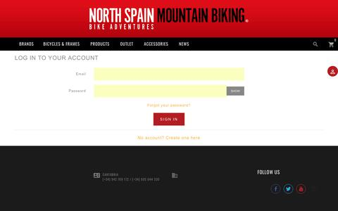 Screenshot of Login Page northspainmountainbiking.com - Iniciar sesión - captured Sept. 21, 2018