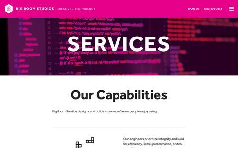 Screenshot of Services Page bigroomstudios.com - Services - Big Room Studios | Agile Software Development - captured June 1, 2017