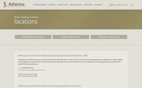 Screenshot of Contact Page Locations Page athenixbody.com - Body Sculpting Center | Athenix Body Sculpting Institute - captured Feb. 6, 2016