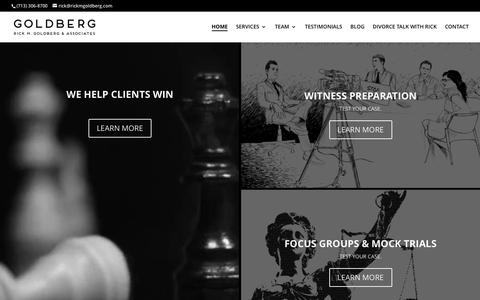 Screenshot of Home Page rickmgoldberg.com - Goldberg | TRANSFORMING YOUR CLIENTS INTO GREAT WITNESSES - captured Dec. 6, 2016